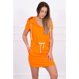Obleka s kapuco in vezavo v pasu 8982, oranžna