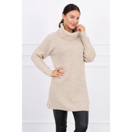 Daljši pleten pulover z visokim ovratnikom 2019-3, bež