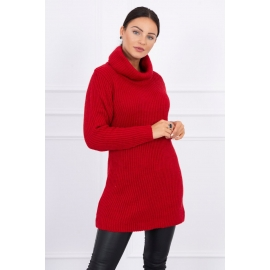 Daljši pleten pulover z visokim ovratnikom 2019-3, rdeč