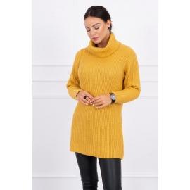 Daljši pleten pulover z visokim ovratnikom 2019-3, gorčično rumen