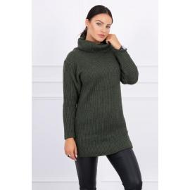 Daljši pleten pulover z visokim ovratnikom 2019-3, kaki