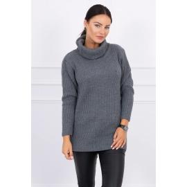 Daljši pleten pulover z visokim ovratnikom 2019-3, temno siv