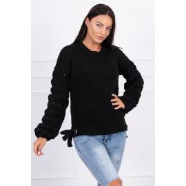 Ženski pleten pulover s pentljicami 2019-4, črn