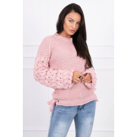 Ženski pleten pulover s pentljicami 2019-4, puder roza