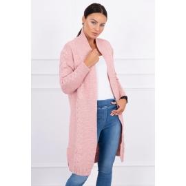 Dolga pletena jopica z vzorcem 2019-1, puder roza