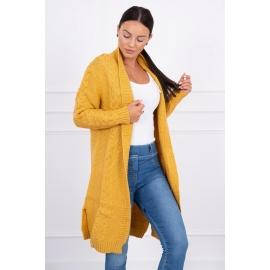 Dolga pletena jopica z vzorcem 2019-1, gorčično rumena