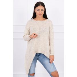 Ženski pleten asimetričen pulover 2019-5, svetlo bež