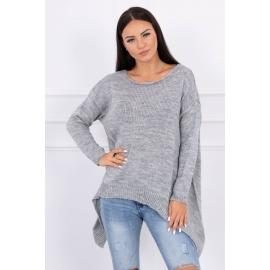 Ženski pleten asimetričen pulover 2019-5, siv