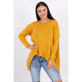 Ženski pleten asimetričen pulover 2019-5, gorčično rumen