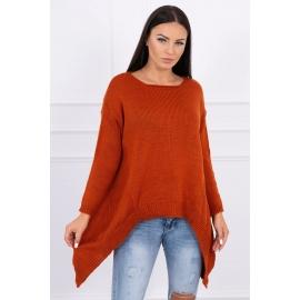 Ženski pleten asimetričen pulover 2019-5, temno oranžen