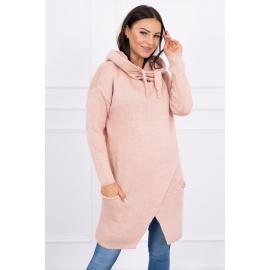 Ženski pleten pulover s kapuco in žepi 2019-6, puder roza