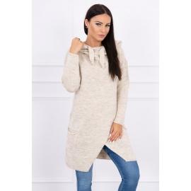 Ženski pleten pulover s kapuco in žepi 2019-6, svetlo bež