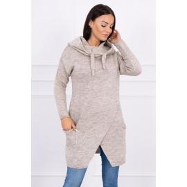Ženski pleten pulover s kapuco in žepi 2019-6, bež