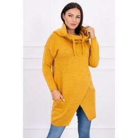 Ženski pleten pulover s kapuco in žepi 2019-6, gorčično rumen