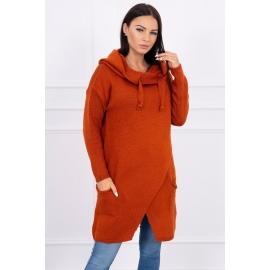 Ženski pleten pulover s kapuco in žepi 2019-6, temno oranžen