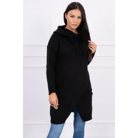 Ženski pleten pulover s kapuco in žepi 2019-6, črn