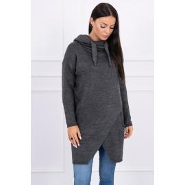 Ženski pleten pulover s kapuco in žepi 2019-6, temno siv
