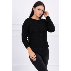 Ženski pleten pulover z daljšim hrbtnim delom 2019-7, črn