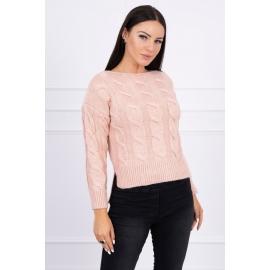 Ženski pleten pulover z daljšim hrbtnim delom 2019-7, puder roza