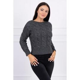 Ženski pleten pulover z daljšim hrbtnim delom 2019-7, temno siv