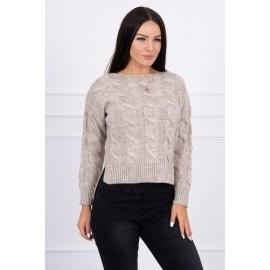 Ženski pleten pulover z daljšim hrbtnim delom 2019-7, bež