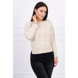 Ženski pleten pulover z daljšim hrbtnim delom 2019-7, svetlo bež