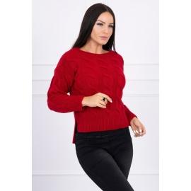 Ženski pleten pulover z daljšim hrbtnim delom 2019-7, rdeč