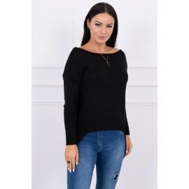 Ženski pleten pulover s krajšim sprednjim delom 2019-9, črn