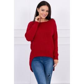 Ženski pleten pulover s krajšim sprednjim delom 2019-9, rdeč