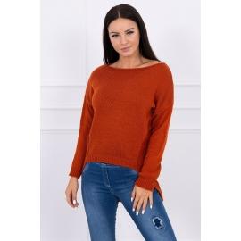 Ženski pleten pulover s krajšim sprednjim delom 2019-9, temno oranžen