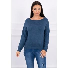Ženski pleten pulover s krajšim sprednjim delom 2019-9, jeans moder