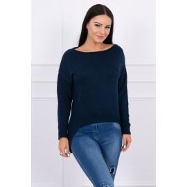 Ženski pleten pulover s krajšim sprednjim delom 2019-9, temno moder
