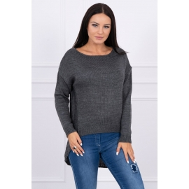 Ženski pleten pulover s krajšim sprednjim delom 2019-9, temno siv