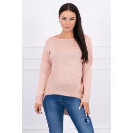 Ženski pleten pulover s krajšim sprednjim delom 2019-9, puder pink