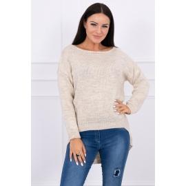 Ženski pleten pulover s krajšim sprednjim delom 2019-9, svetlo bež