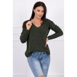 Pleten pulover z V izrezom 2019-11, kaki