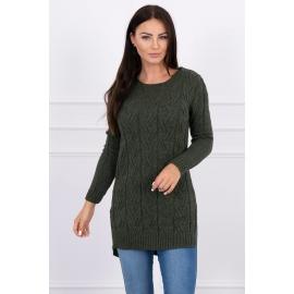 Daljši pleten pulover z daljšim hrbtnim delom 2019-10, kaki