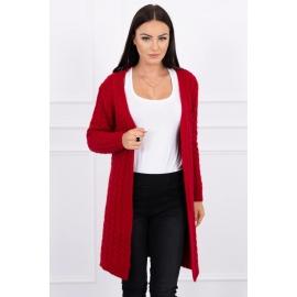 Daljša pletena jopica z vzorci 2019-14, rdeča
