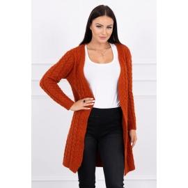 Daljša pletena jopica z vzorci 2019-14, temno oranžna