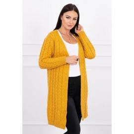 Daljša pletena jopica z vzorci 2019-14, gorčično rumena