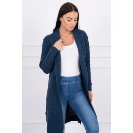 Dolga pletena jopica z vzorcem 2019-1, jeans modra