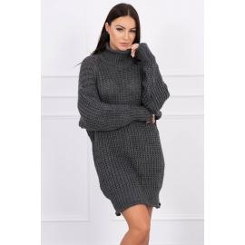 Ženska pletena obleka z ovratnikom 2019-17, temno siva