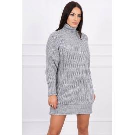 Ženska pletena obleka z ovratnikom 2019-17, siva