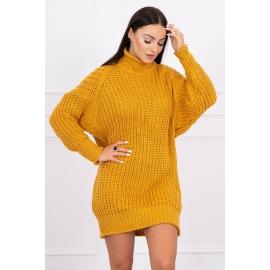 Ženska pletena obleka z ovratnikom 2019-17, gorčično rumena