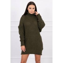 Ženska pletena obleka z ovratnikom 2019-17, kaki