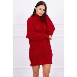Ženska pletena obleka z ovratnikom 2019-17, rdeča