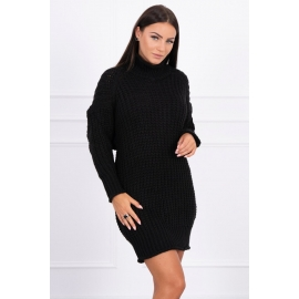 Ženska pletena obleka z ovratnikom 2019-17, črna
