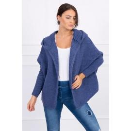 Ženska pletena jopica z netopir krili in kapuco 2019-16, jeans modra