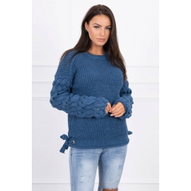 Ženski pleten pulover s pentljicami 2019-4, jeans moder