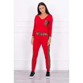 Ženski komplet z motivom leoparda 0068, rdeč